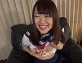 Playful Japanese schoolgirl Natsuno Himawari plays with sex toys picture 11