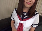 Playful Japanese schoolgirl Natsuno Himawari plays with sex toys