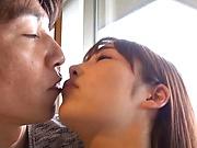 Ozono Sayo got her shaved pussy licked