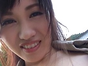 Hot Yui Katase gets outdoor fucked by two male hunks