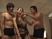 Nice Tokyo hottie in nylon stockings gets pussy pleasured
