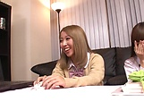Fujikawa Reina and Natsuki Marina kinky lesbian fun indoors picture 13