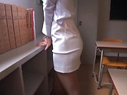 Office babe removes clothes for a good fuck