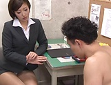 Hot Asian teacher enjoys student's huge hard cock in her cunt picture 5