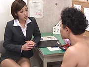 Hot Asian teacher enjoys student's huge hard cock in her cunt
