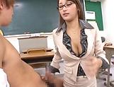 Wakana Nao passionately sucks on student's cock