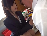 Passionate teacher Mizuho Uehara gets her boobs squashed picture 15
