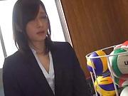 Busty Asian teacher Mizuho Uehara gets her tits fondled
