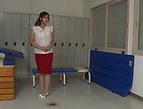 Lustful Japanese teacher Miyabe Suzuka toys herself