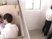 Teacher is having sex in the toilet