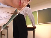 Hot Asian teacher takes on three guys in a blowie game