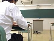 Shameless Asian teacher Kirishima Sakura makes the guy cum
