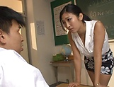 Sizzling handjob for obedient student from sexy teacher