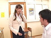 Hot teacher is eagerly fucking a student