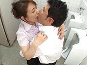Sachiko got some fingering in the toilet