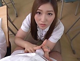 Japanese teacher Maijima Akari gives a blowjob in the classroom picture 14