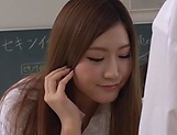 Japanese teacher Maijima Akari gives a blowjob in the classroom