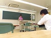 Spoiled Japanese teacher Kirishima Sakura fucks in the classroom