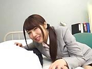 Naughty Japanee teacher Kirishima Sakura gets titfucked in pov