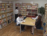 Sexy Japanese teacher Maijima Akari sucks cock in a public place