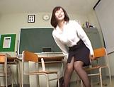 Sexy Japanese teacher Shinoda Yuu gives a fantastic foot job