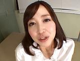 Sexy Japanese teacher Shinoda Yuu gives a fantastic foot job picture 13