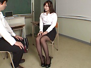 Sexy Japanese teacher Shinoda Yuu gives a fantastic foot job
