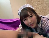 Teen Japanese maid Sakura Kizuna sucks a dick in a POV vid