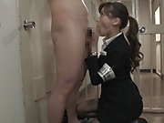 Hottie in a police uniform Aine Maria giving a blowjob in jail