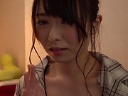 Kinky Japanese cougar Sakurai Moe sucks a dildo and a cock in POV