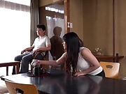 Long-haired Asian milf Maru Chikako sucks and jerks off a cock outdoors