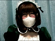 Cute Japanese teen in a mask Sakura Kizuna satisfies her oral sex needs
