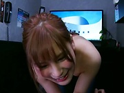 Small-tittied redhead girl Hazuki Reira teases a big dick insanely