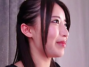 Petite Japanese girl Mochizuki Risa gets a mouthful of semen