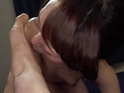 Cock addicted Asian milf Sakurai Moe licks ass and sucks a long cock