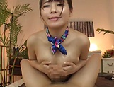 Lovely AV girl Koga Matsuna gets her oiled tits and mouth fucked