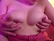 Busty Japanese AV model Arima Mari gets boobs and mouth fucked in pov