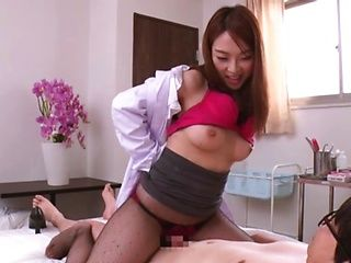 Japanese nurse sucks dick and licks balls in advance to sex