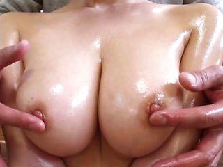 Gorgeous Japanese woman with big tits Haruka Mirai massaged and fucked