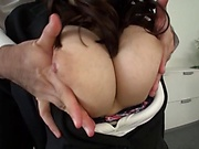 Japanese office lady with big tits fucked by two guys