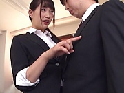Akari Mitani sucks and rides on her first day at the office