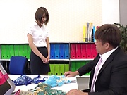 Gorgeous office lady Harusaki Ryou fucked and fondled on the table