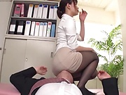 Office lady gets fucked through her pantyhose