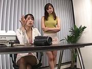 Lesbians Hasumi Kurea and Kumamiya Yoshino enjoy strapon fucking