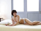 Hot brunette with big tits sucks dick
