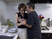 Naked Japanese milf Kimijima Mio fucked hard in the kitchen