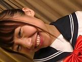 Smiling schoolgirl Kousaka Mirina gets pussy stretched and bonked