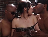 Exquisite milf has interracial threesome